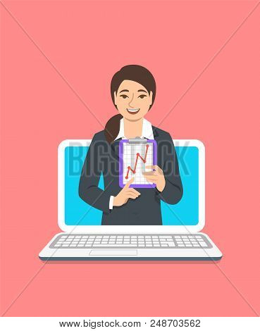 Online Business Coaching Concept. Vector Flat Illustration. Young Woman Business Coach On Computer M