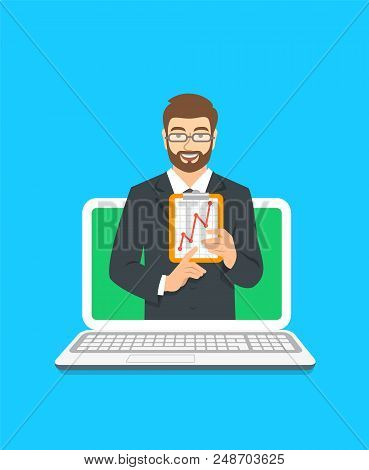 Online Business Coaching Concept. Vector Flat Illustration. Young Man Business Coach On Computer Mon