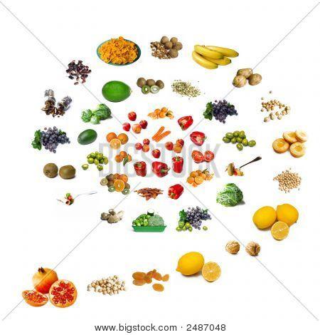 Spiral gesundes Essen Hintergrund