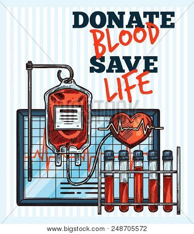 Blood Donation Sketch Design For World Blood Donor Day. Vector Lettering And Medical Items Of Cardio