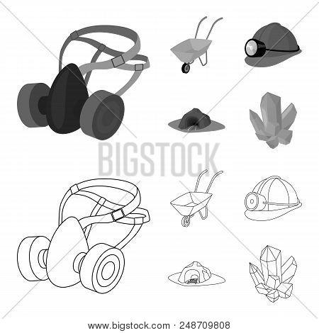 Headphones And Raspirator, Wheelbarrow, Helmet With A Lantern, The Entrance To The Mine.mining Indus