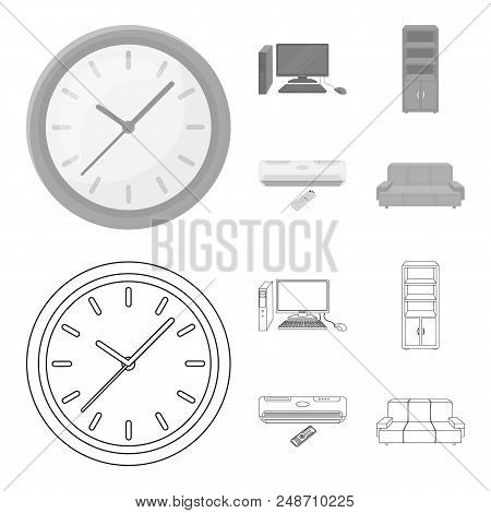 Clock With Arrows, A Computer With Accessories For Work In The Office, A Cabinet For Storing Busines
