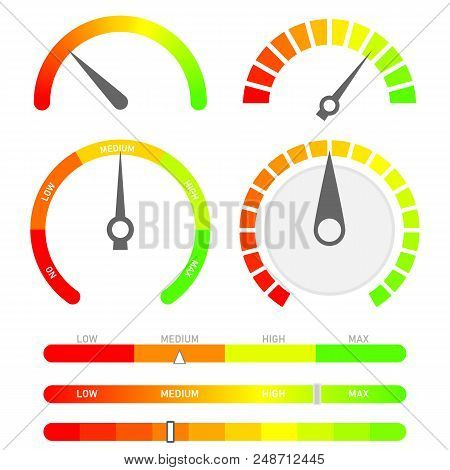 Minimalist Score Indicators With Color Levels From Low To Max. Abstract Concept Graphic Element Of T