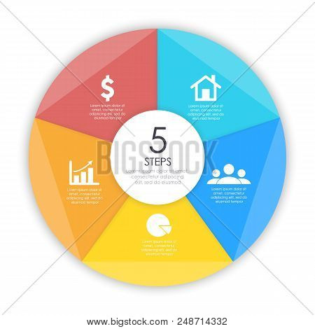 Business Concept Of Circle Infographic Template With 5 Options For Graph, Presentation And Round Cha