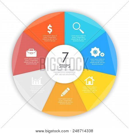Business Concept Of Circle Infographic Template With 7 Options For Graph, Presentation And Round Cha