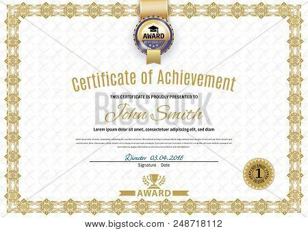 Official White Certificate Of A4 Format With Beige Border, Gold Emblem, Official Simple Blank