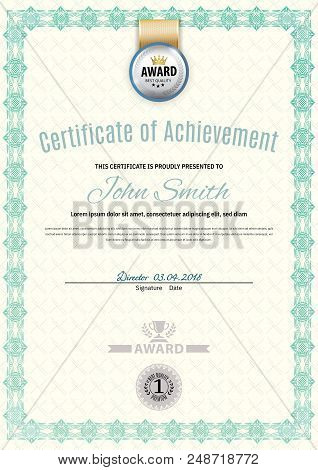 Official White Certificate Of A4 Format With Green Border, Silver Emblem, Official Simple Blank