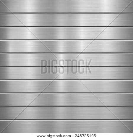 Metal Technology Background With Polished, Brushed Texture, Chrome, Silver, Steel, Aluminum And Hori