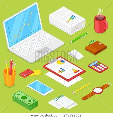 Set Of Businessman Accsessories On Gree Background.vector Illustration.