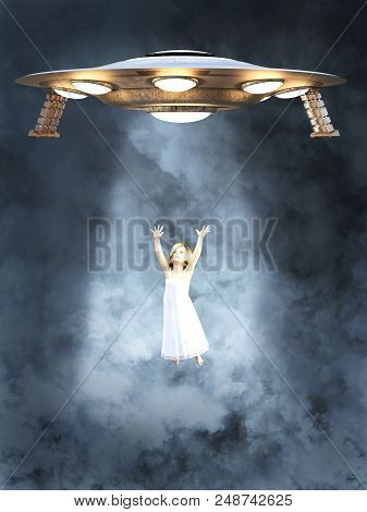 An Ufo Space Ship Abducting A Young Girl. She Is Surrounded By Smoke Or Clouds And Light Beams From