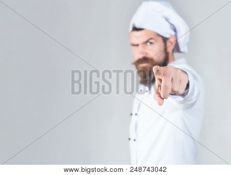 Chef Man. Confident Male Chef With Beard, Mustache Shows Finger On You. Cook Points Forward. Chef In