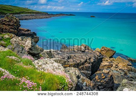 View Of The Stunningly Beautiful Coast And Beach Near St. Ives, Cornwall, England, Uk