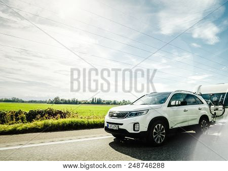 Munchen, Germany - Oct 7, 2018: Fast Driving On German Autobahn Kia Niro Hybride Rechargeable Car Wi