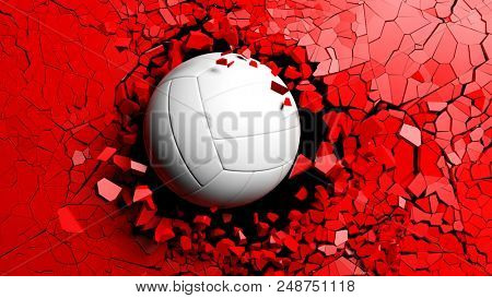 Volleyball ball breaking with great force through a red wall. 3d illustration.