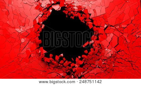 Shattered wall concept. Hole on a broken red wall blank space. 3d illustration