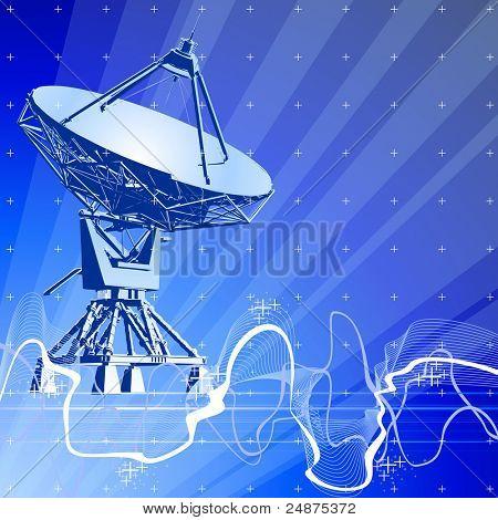 Satellite dishes antenna (doppler radar), digital wave & blue technology background. Bitmap copy my vector ID 27138499