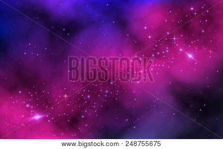 Space Background. Bright Milky Way With Nebula And Stars. Color Galaxy With Stardust. Abstract Futur