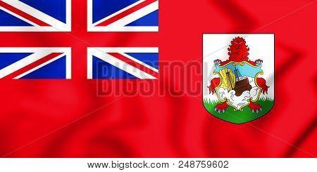 3d Flag Of Bermuda. 3d Illustration. Front View.