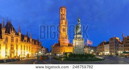 Panoramic View Of Tower Belfort And Statue Of Jan Breydel And Pieter De Coninck On The Grote Markt O