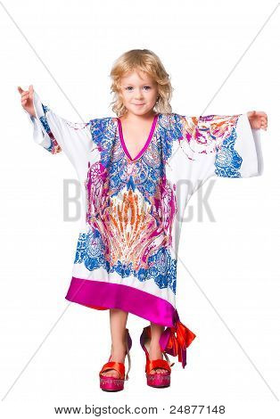 Isolated Portrait Of Pretty Girl Trying Mama's Outfit