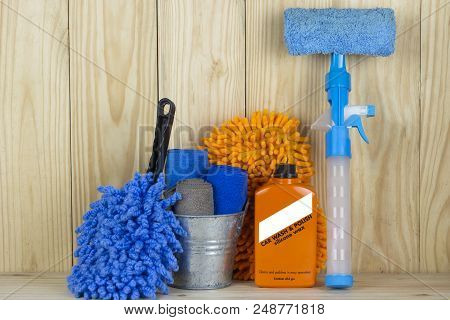 Car Wash Equipment Or Car Cleaning Product Such As Microfiber Tank And  Glass Cleaner And Brush With