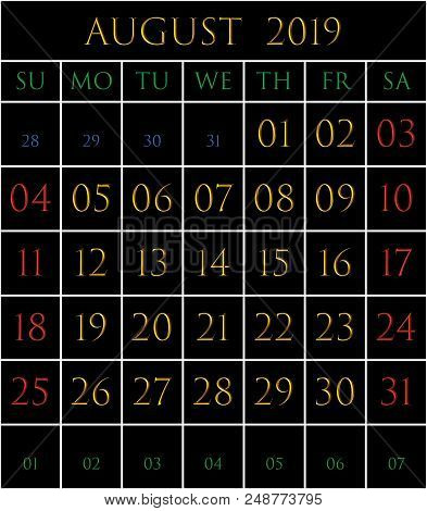 2019 Calendar For The Month Of August On Black Background Rectangles Bordered With White