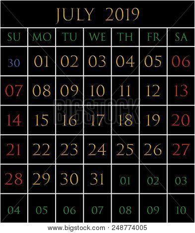 2019 Calendar For The Month Of July On Black Background Rectangles Bordered With White