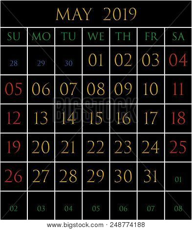 2019 Calendar For The Month Of May On Black Background Rectangles Bordered With White