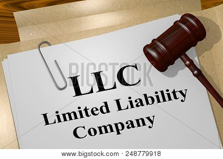 3d Illustration Of Llc Title On Legal Document. Limited Liability Company.