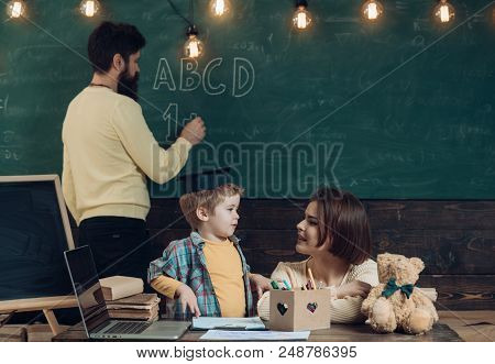 School Lesson Concept. Teacher Give School Lesson In Mathematics For Little Kid. First School Lesson