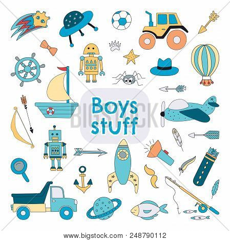 Boys Stuff Set With Hand Drawn Toys For Kids. Vector Illustration.