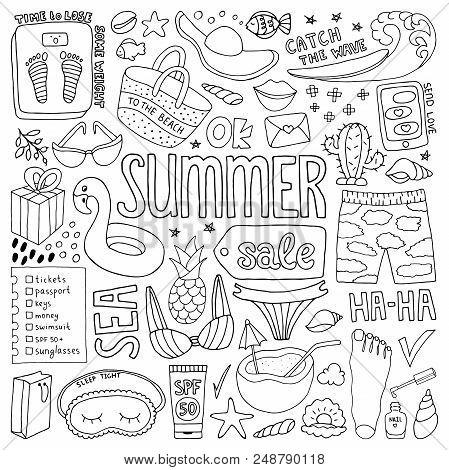 Summer Doodle Set. Hand Drawn Illustration In Vector.