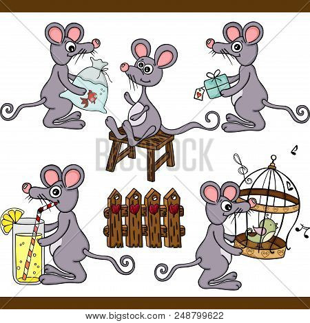 Scalable Vectorial Representing A Mouse Set Digital, Illustration With Elements For Your Design.