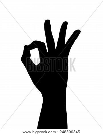 Black Hand Silhouette, Hand Gesture, Agree Or Okay, Vector Illustration