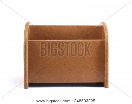 Close-up Brown Plywood Desk Organizer Isolated On White Background, Office Equipment That Allows A T