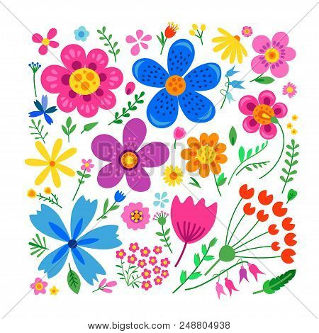 Amazing Floral Vector Set Of Bright Colorful Flowers In Cute Vintage Style.beautiful Colorful Flower