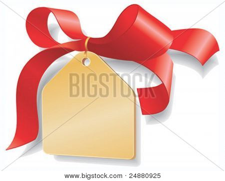 Red ribbon,golden plate. Add your text - discount, gift, sale. Vector Illustration