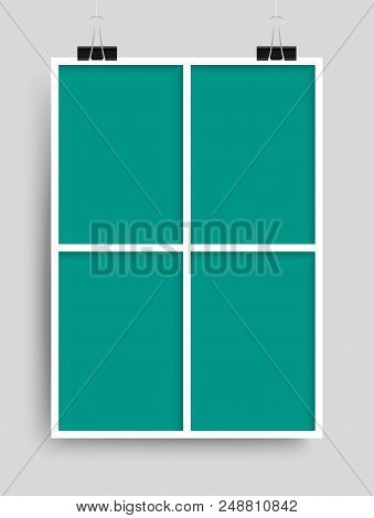 Templates Collage Four Frames For Photo Or Illustration. Vector Frame For Photos, Pictures, Photo Co