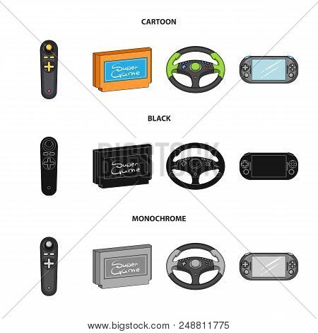 Game Console And Joystick Cartoon, Black, Monochrome Icons In Set Collection For Design.game Gadgets