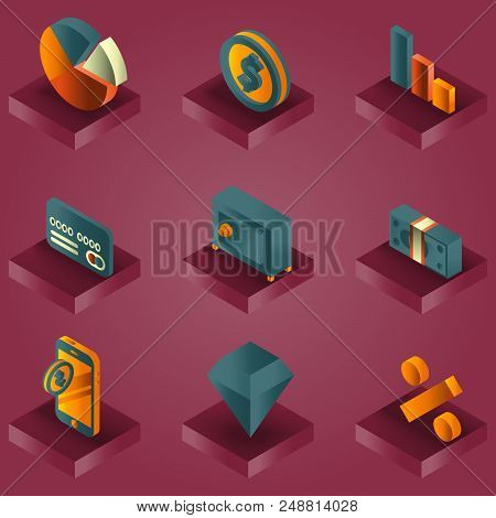 Finance Color Gradient Isometric Icons. Vector Illustration, Eps 10