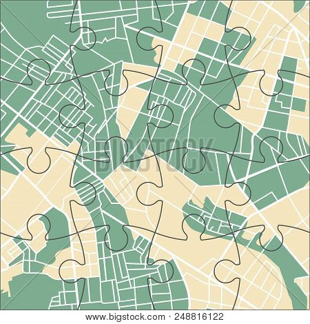 Green And Yellow Map Of City Or Town. Vector Illustration