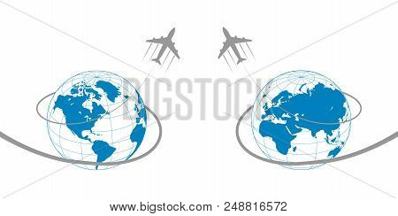 Plane With Globe And Path On White Background. Vector Illustration.