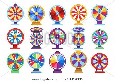 Fortune Wheels Flat Icons Set. Spin Lucky Wheel Casino Money Game Symbols. Fortune Wheel Game, Gambl