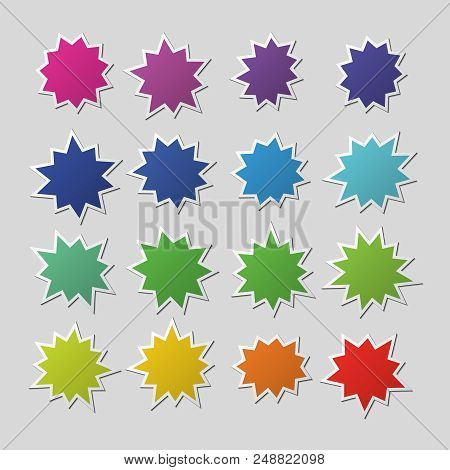 Blank Colorful Paper Starburst Balloons, Explosion Shapes. Cartoon Bursting Speech Bubbles. Boom Sal