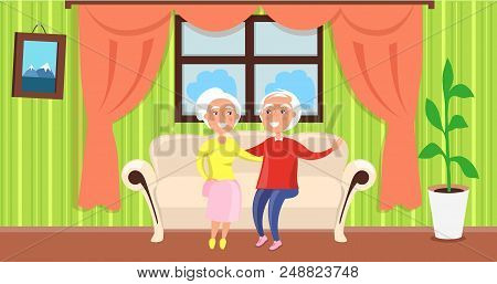 Grandparents Day Poster With Mature Husband And Wife Sitting On Sofa Near Window With Curtains In Co