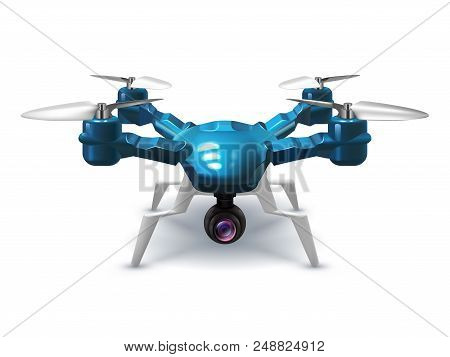 Realistic unmanned drone with recording camera. Copter with remote control 3d vector illustration. Remote aerial device with propeller poster