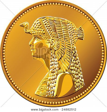 Arab Republic of Egypt the coin of fifty piastres shows the queen Cleopatra poster