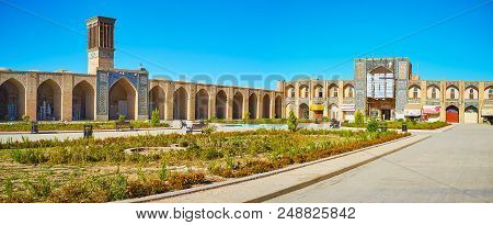 Kerman, Iran - October 15, 2017: Panorama Of Ganjali Khan Square With A View On Arcades Of Grand Baz