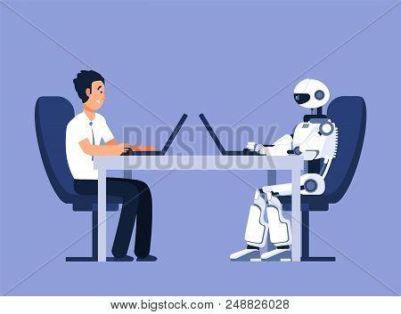 Robot And Businessman. Robots Vs Human, Future Replacement Conflict. Ai, Artificial Intelligence Vec