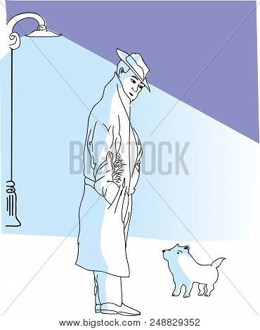 Man And Cute Dog.  Illustration Of Old Man Looking At Tiny Dog In The Street.